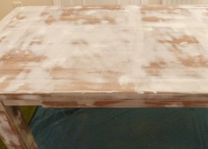 The table after a hefty filling and sanding session
