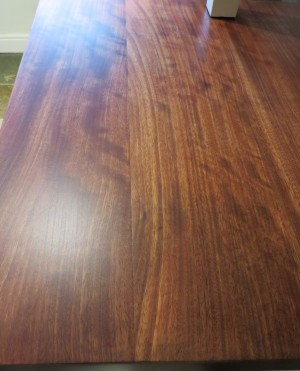 The newly stained and sealed worktop