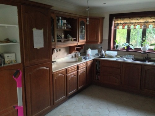 mahogany kitchen before painting