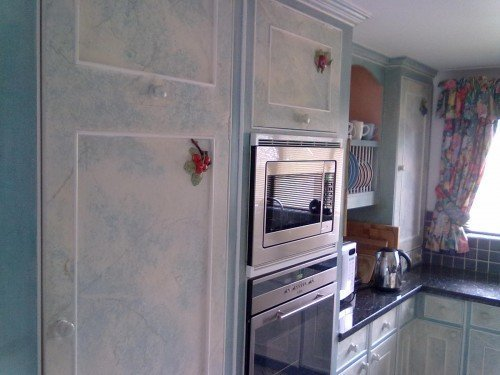 ragged and marble effect painted kitchen