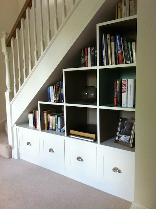 understairs shelving painted