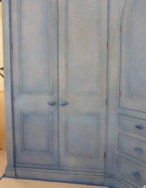 The effect after the 1st new coat of glaze on Hand Painted Wardrobe with Cloudy Paint Effect