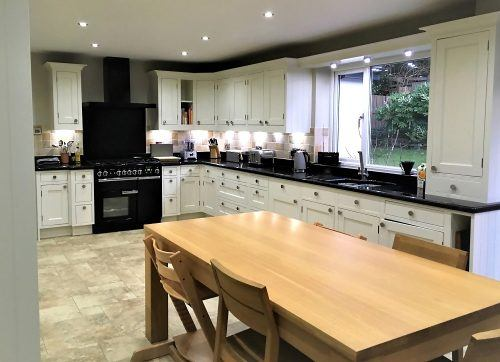 The finished hand painted oak kitchen in Collingham