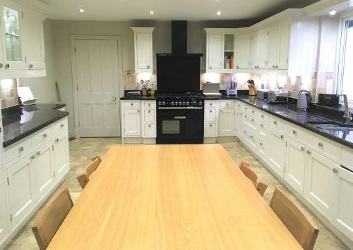 The finished hand painted oak kitchen in Collingham lighter, brighter and more contemporary