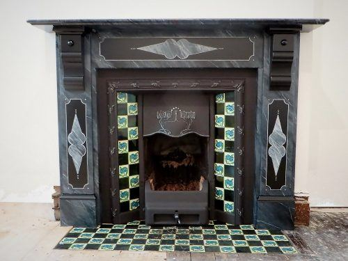 The finished marble effect fireplace