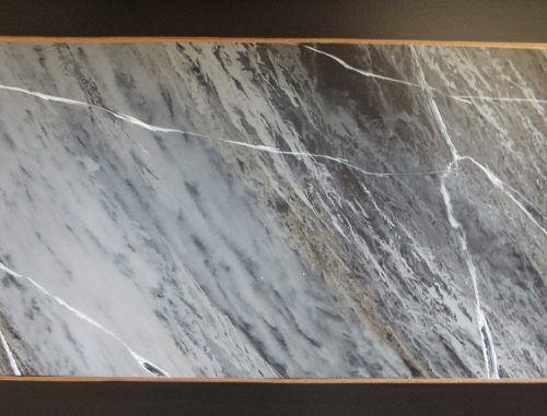 Close up of the faux marble finish