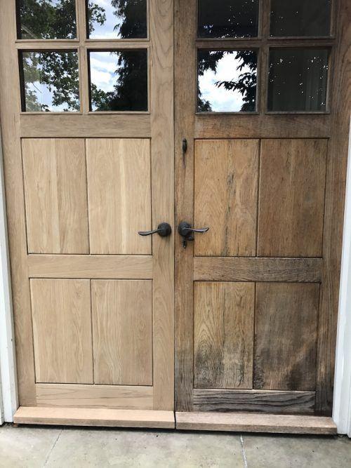 restoring oak door sanded