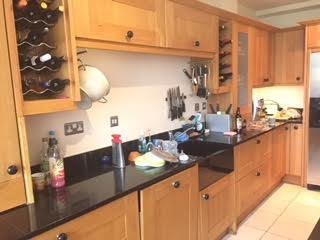 Hand painted kitchen in Cheshire using Benjamin Moore Scuff-X paint
