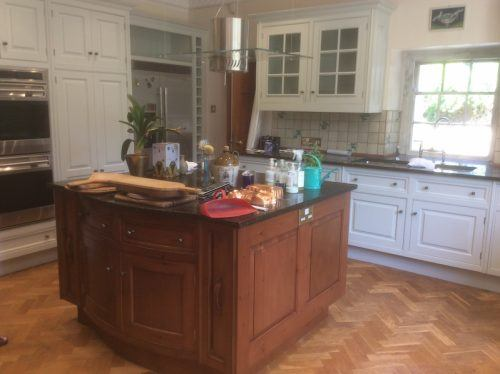 hand painted kitchen and island in Anglesey