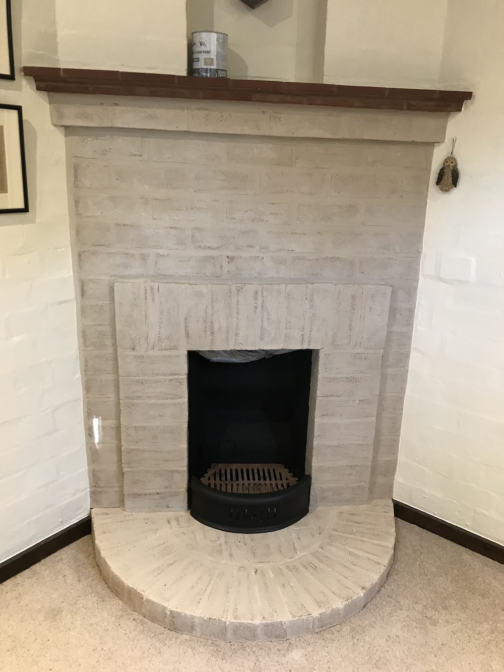 Annie Sloan Chalk Paint on a brick fireplace
