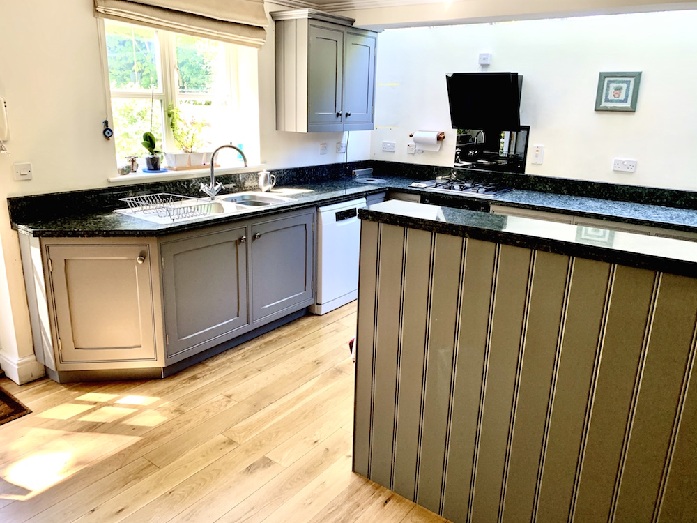 the completed painted maple kitchen
