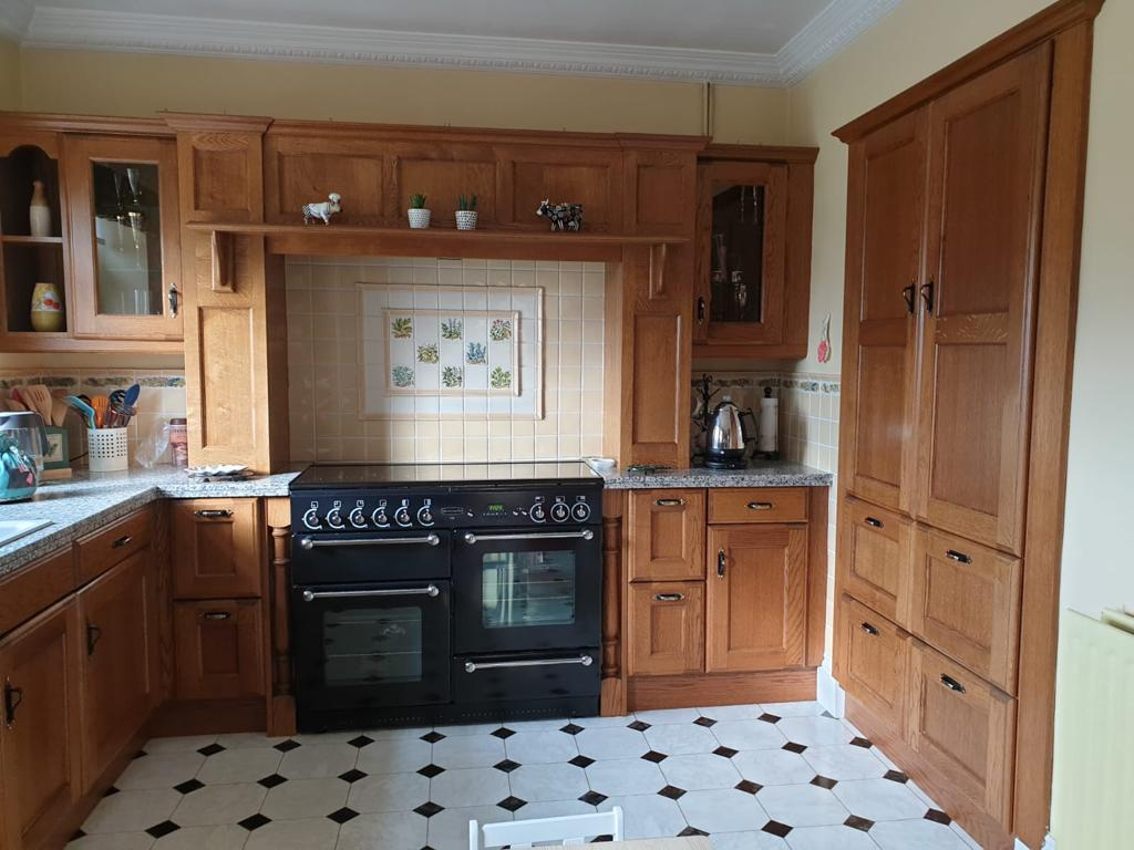 The oak kitchen in South Shields before painting