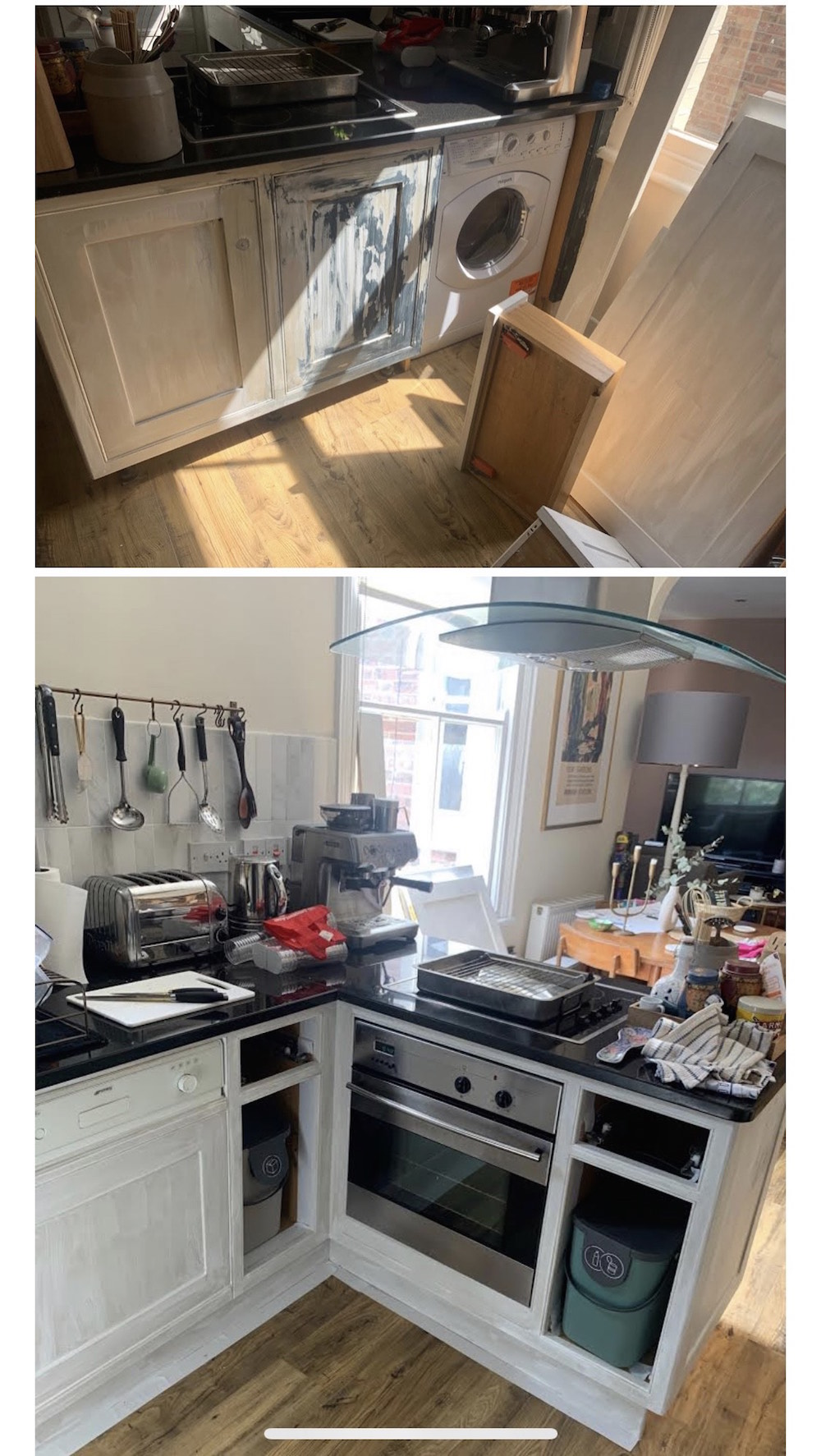 the kitchen in Twickenham was painted by the owners, keen DIY but not experienced