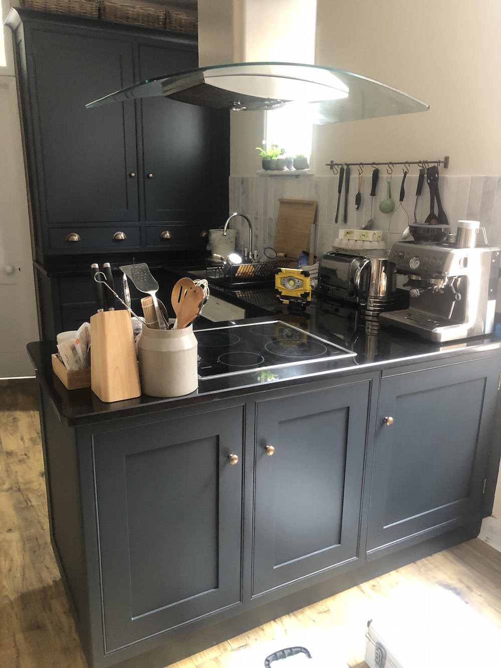 Painted kitchen in Twickenham after much work by Mark Nash