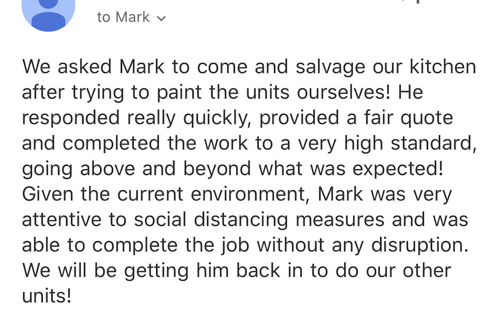 testimonial for Mark Nash after painting a kitchen in SW London