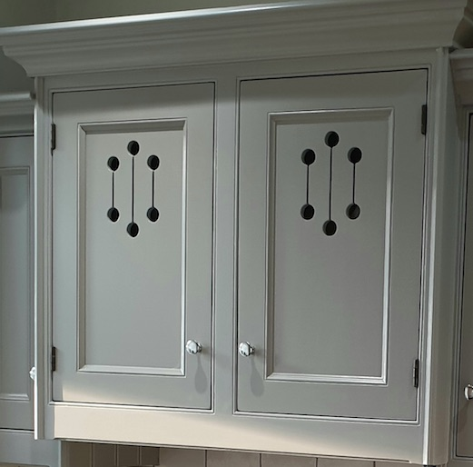 polished chrome handles on hand painted kitchen woburn sands