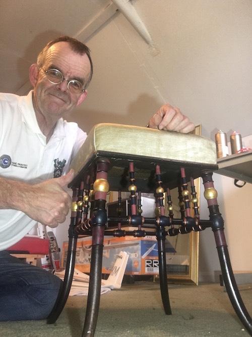 Mark Nash Restoring an antique German stool in London