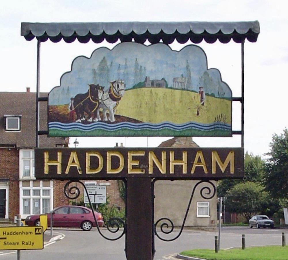 village sign of Haddenham in Cambs