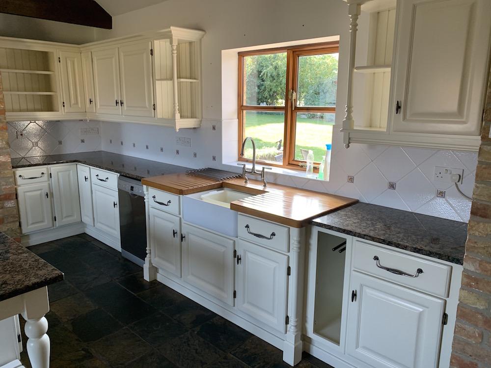 Revitalised oak painted kitchen in Haddenham, Suffolk