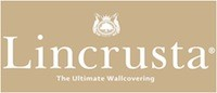 lincrusta logo with crest white on gold
