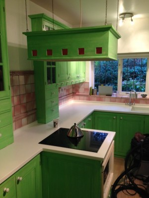 pea green kitchen before