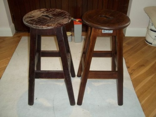 bar stools before and after restoration