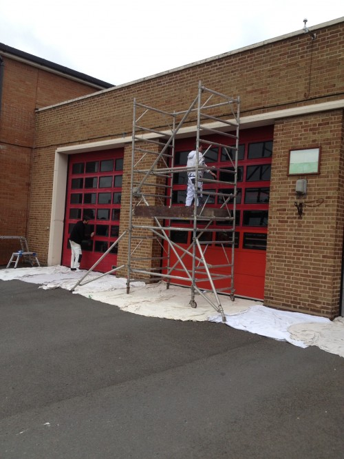 scaffold for fire station doors