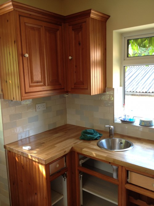 lacquered wooden kitchen before painting