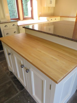 Worktops, cleaned, sanded and varnished