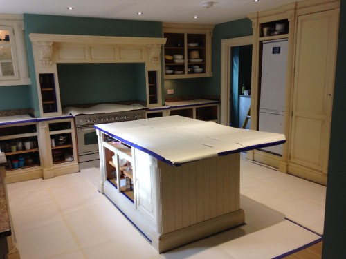 masked flooring in painted kitchen